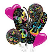 Neon Doodle Balloon Bouquet 5pc