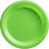 Kiwi Green Plastic Divided Dinner Plates 20ct