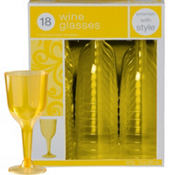 Sunshine Yellow Premium Plastic Wine Glasses 18ct