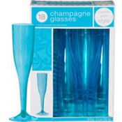 Caribbean Blue Premium Plastic Champagne Flutes 18ct