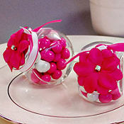 Bright Pink Rhinestone Flower Wedding Favor Accessory 6ct