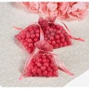 Bright Pink Organza Favor Bags 24ct