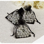 Black Organza Wedding Favor Bags 24ct