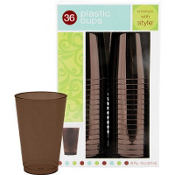 Chocolate Brown Premium Plastic Tumblers 36ct