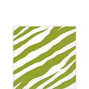 Kiwi Green Zebra Print Beverage Napkins 16ct
