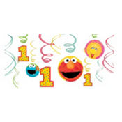 Sesame Street 1st Birthday Swirl Decorations 12ct