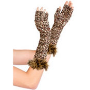 Fingerless Leopard Print Gloves
