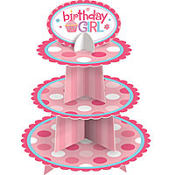 Pink Sweet Little Cupcake 1st Birthday Cupcake Stand