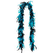 Turquoise and Black Feather Boa 60in