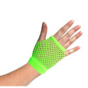 Short Neon Yellow Fishnet Glove