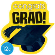 Yellow Congrats Grad Graduation Cutouts 10 1/2in 12ct