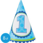 Boys 1st Birthday Party Hats 8ct