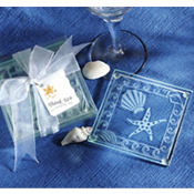 Shell and Starfish Glass Coaster Wedding Favor