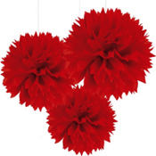 Red Fluffy Decorations 16in 3ct