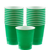 Festive Green Plastic Cups 20ct