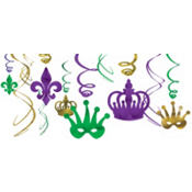 Mardi Gras Swirl Decorations 12ct