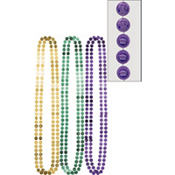 Coin Mardi Gras Bead Necklaces 42in 6ct