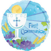 First Communion Balloon - Blue Blessings