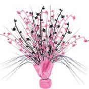 Pink & Black Graduation Spray Centerpiece 12in