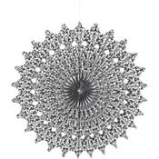 Damask Black & White Paper Fan Decoration 16in