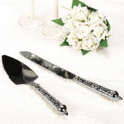 Modern Lace Wedding Cake Server Set