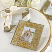 Golden Brocade Elegant Glass Photo Coaster