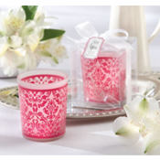 Pink Damask Tea Light Holder Wedding Favor