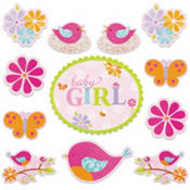 Tweet Baby Girl Baby Shower Cutouts 12ct