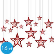 3D Red Star Hanging Decorations 16pc