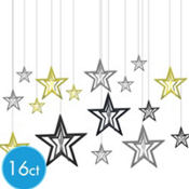 3D Black, Silver and Gold Star Hanging Decorations 16ct