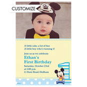 Mickey 1st Birthday Custom Photo Invitation