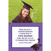 Purple Congrats Grad Custom Photo Invitation