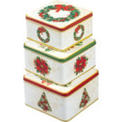 Holly Square Tin Set 3pc