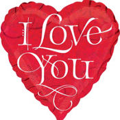 Holographic I Love You Valentines Day Balloon 18in