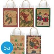 Medium Merry Christmas Kraft Gift Bags 8in 5ct