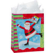 Large Skating Santa Gift Bags 12 1/4in 8ct