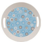 Round Printed Snowflake Tray 10in