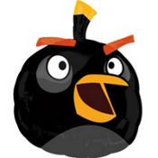 Foil Angry Birds Black Balloon 24in