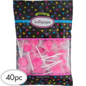 Bright Pink Lollipops 40pc