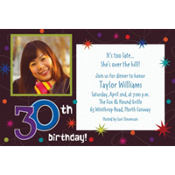 The Party Continues 30th Birthday Custom Photo Invitation