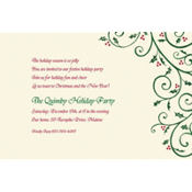 Delicate Holly Scroll Custom Invitation