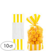 Yellow Striped Favor Bags 10ct