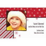 Snowflakes on Red Custom Photo Card