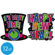 Clock Happy New Year Cutout 16in 12pc