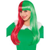 Red and Green Christmas Wig