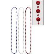 Patriotic Disco Ball Bead Necklaces 3ct
