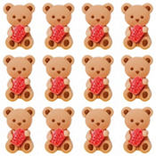 Teddy Bear Icing Decorations 12ct