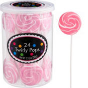 Swirly Light Pink Lollipops 24pc