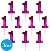 Pink 1st Birthday Cupcake Picks 36ct