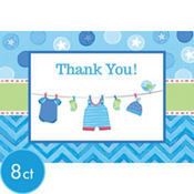 Boy Baby Shower Thank You Notes 8ct - Shower With Love
